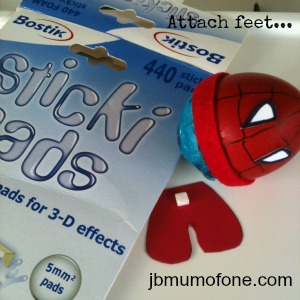 Attach feet Easter Craft:Sp EGG tacular Superheroes!
