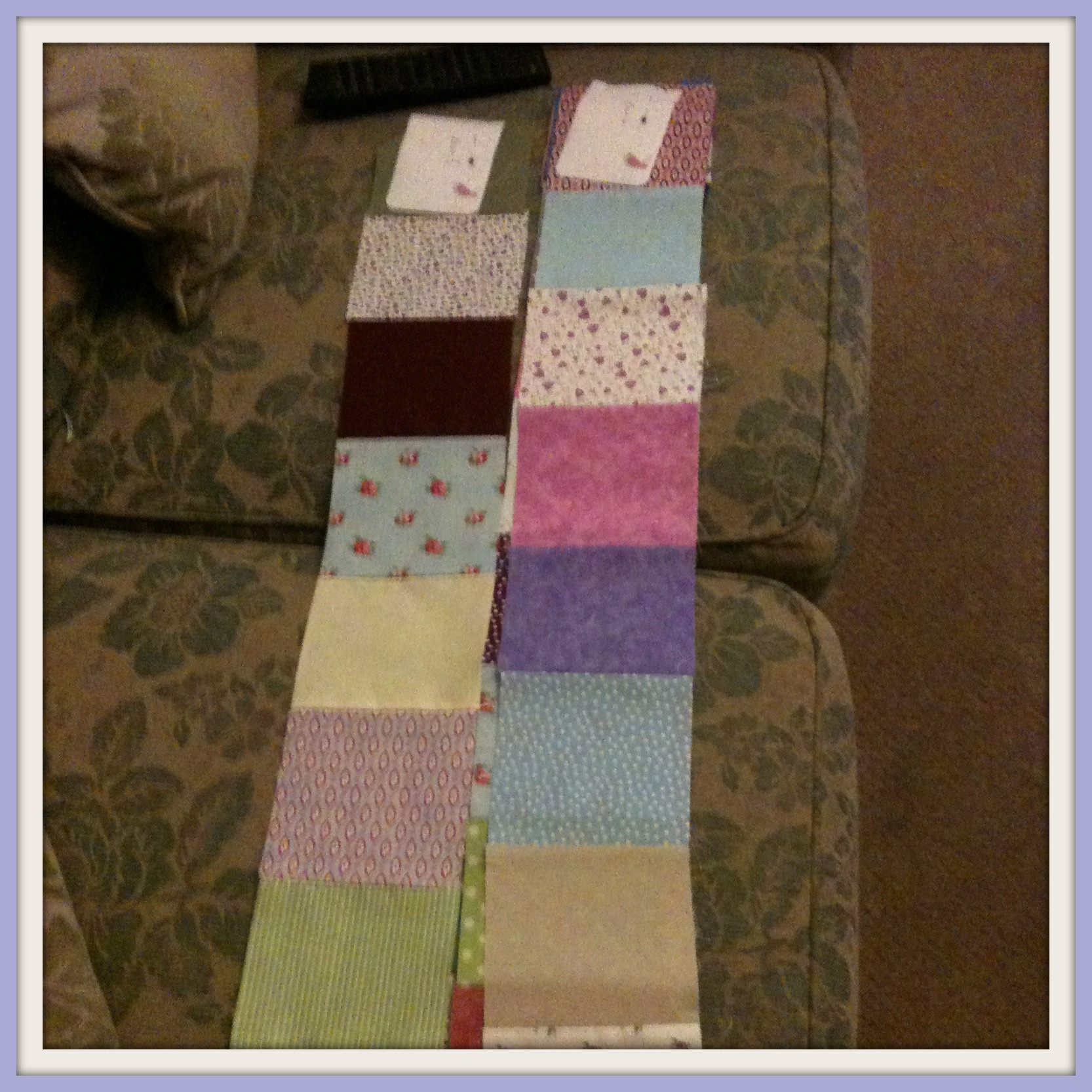 Laying out rows My very first quilt...and I finished it too!