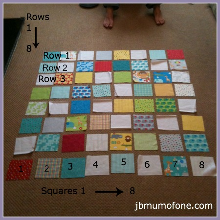 Numbering quilt rows and squares How to Make a Cotbed Quilt for Beginners, Step 2: Preparing to Sew the Front of Your Quilt
