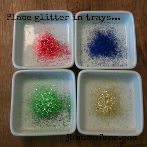 glitter trays Easter Craft: No dye Spotty Easter Eggs.