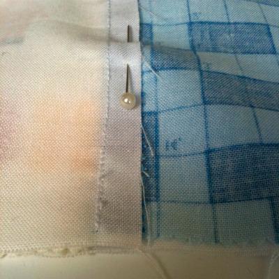 pin seams along the row
