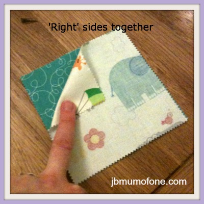 right sides together How to Make a Cotbed Quilt for Beginners, Step 3: Sewing an Individual Row of Squares