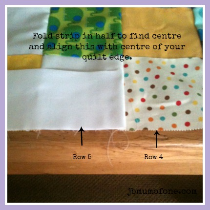 Align centre of strip and quilt edge How to make a Cotbed Quilt for Beginners, Step 6: Rotary Cutting and Adding Your Borders