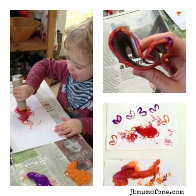 Painting with toilet rolls Toilet Roll Craft: Printing Fun!