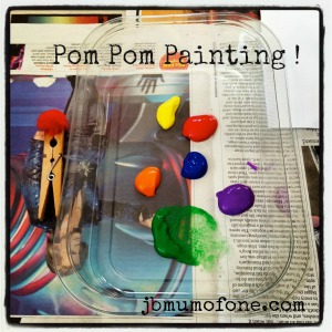 Painting with Pom Poms: #Toddler #arts abd #crafts fun