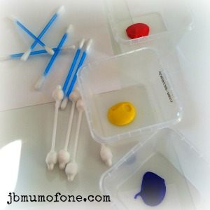 Painting with cotton buds Painty Toddler Fun: Cotton bud painting