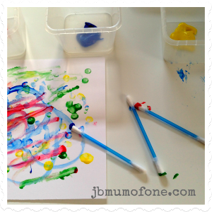 Painty Toddler Fun Cotton bud painting