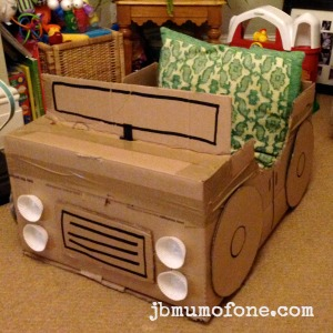 how to make a cardboard box car mum of one. Black Bedroom Furniture Sets. Home Design Ideas