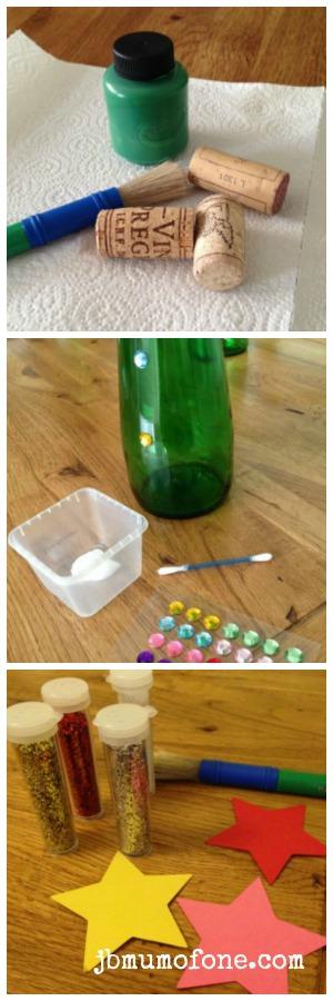 Making Green Bottle Xmas Trees